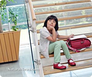Girl-Child-Waiting-Stairs-School-Homework-Thinking
