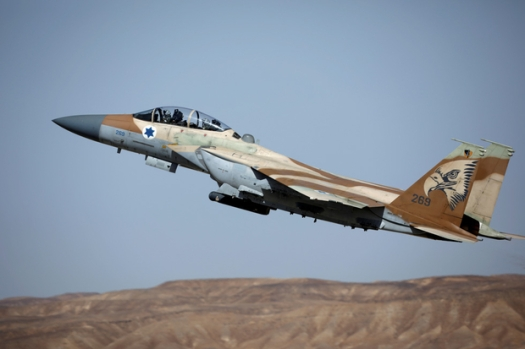 "IAF F-15 fighter jet takes off during exercise dubbed "" Juniper Falcon"", held between crews from the U.S and Israeli air forces, at Ovda military airbase"