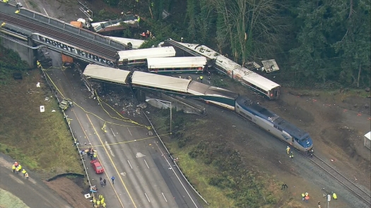 Amtrak train derails south of Tacoma