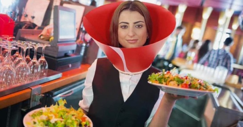 GOVERNOR OF MAINE ORDERS RESTAURANT STAFF TO WEAR COVID VISORS LIKE DOG CONES