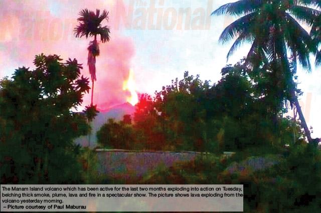 Manam volcano erupts